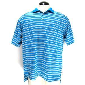 Adidas Golf Polo Golf Shirt Blue Stripe Sz L